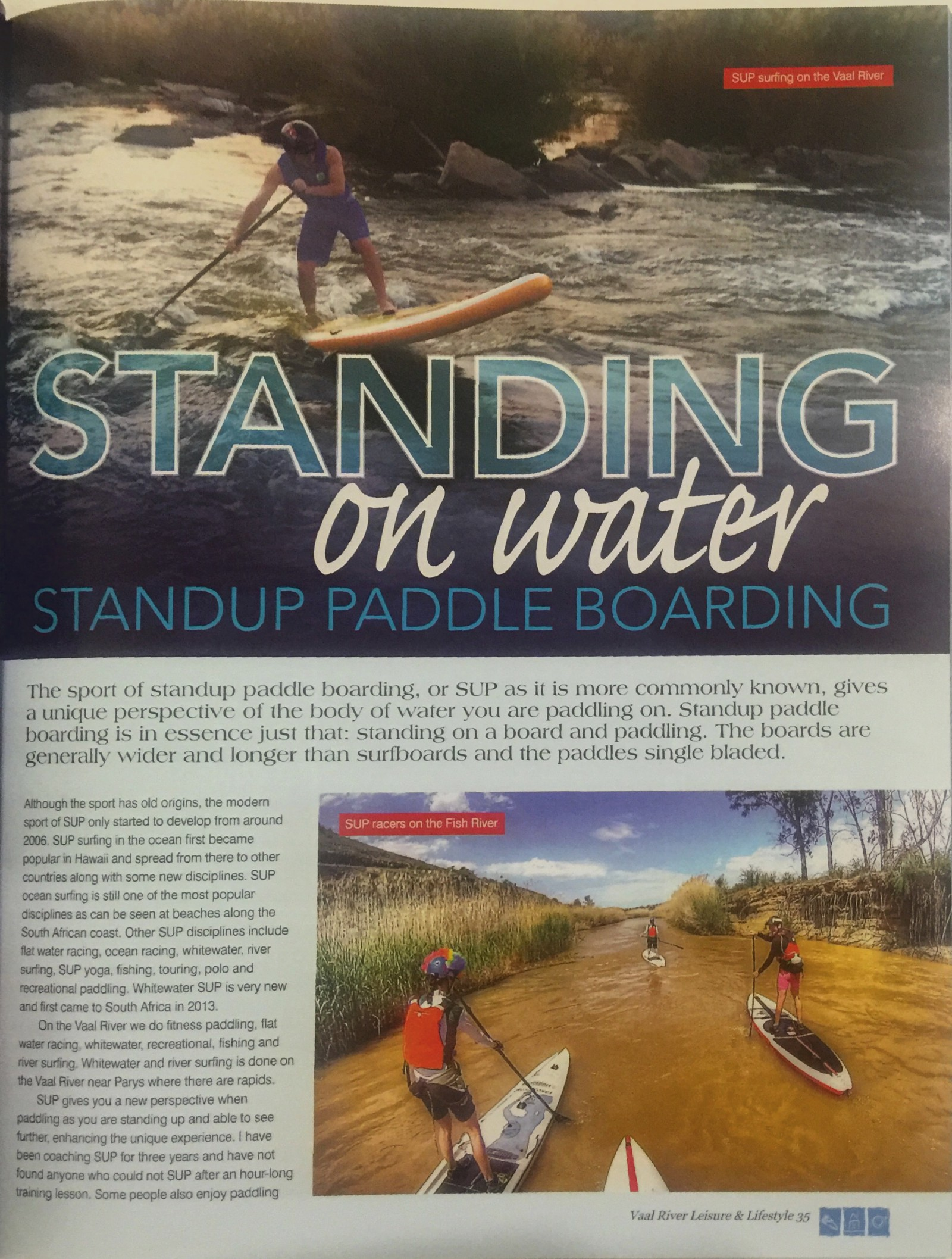 SUP in the Vaal River Leisure and Lifestyle Magazine